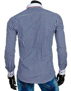 Bielo – modrá košeľa s výrazným červeným lemom