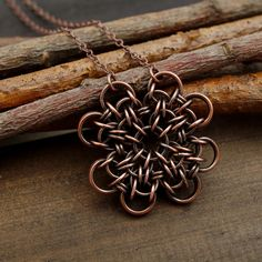 Four-leaf clover necklace, clover chainmaille, copper jewelry, good luck jewellery, copper chainmaille