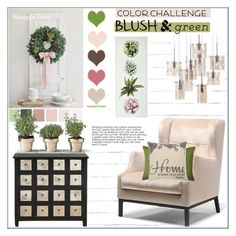 """Color Challenge: Green and Blush"" by pat912 ❤ liked on Polyvore featuring interior, interiors, interior design, home, home decor, interior decorating, Devine Color, Home Decorators Collection, Home and polyvoreeditorial"