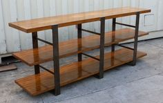 Vintage Distressed Steel and Wood Bookcase by MortiseandTenon, $1695.00 custom sizes and stains