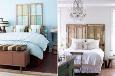 Ideen für Bettkopfteil-Vintage Türen und Fensterrahmen-abgeplatzte Farbe-diy