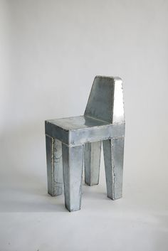 """Solder Seat"" by Max Lamb. Zinc sheet and lead-free solder. Design Furniture, Art Furniture, Handmade Furniture, Unique Furniture, Contemporary Furniture, Chair Design, Automotive Furniture, Automotive Decor, Vintage Furniture"