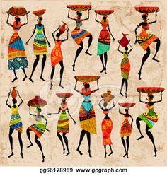 Retro beautiful African women