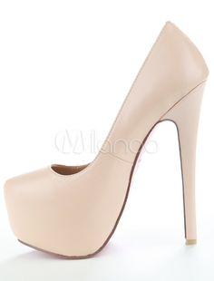 Zapatos de Tacón Alto para Mujer con Plataforma 2019 Color Albaricoque  Zapatos de Tacón Aguja de Talla Grande Zapatos de Vestido da846944292b