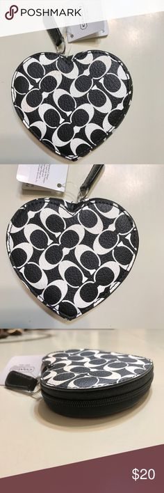 Authentic coach heart coin case New with tags never used- slight pink scuff on one side from storage-as seen in picture Coach Accessories
