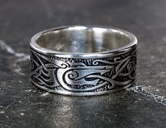 Viking Wolf Ring - Sterling Silver  - Viking Inspired Jewelry - Celtic Man's Ring by ArgentumArcana on Etsy