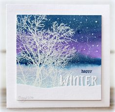 We´ve got our first snow! Made a card for a color challenge with a stamp and a die from Penny Black! SkywardWinter Snow Script                                     Thanks!