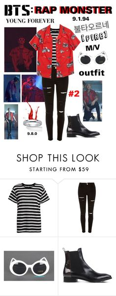 """""""BTS: RAP MONSTER """"Fire"""" M/V Outfit #2"""" by itzbrizo ❤ liked on Polyvore featuring R13, River Island, Attilio Giusti Leombruni and Palm Beach Jewelry"""