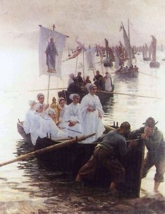 Alfred Guillou,  The Arrival of the Procession of St. Anne from Fouesnant to Concarneau (1887)