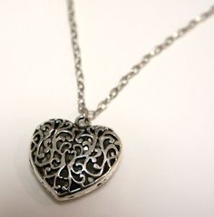 Silver Heart Cage Filigree Pendant Long or Short You by Links & Locks, $20.00