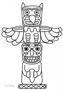 Totem Pole Coloring Pages Printable Indianer Indianische Symbole Totempfahl