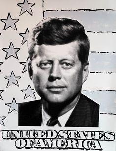 John Stango •JFK •50 X 38 •Acrylic on Paper // 408.888.1500 //jcos.hello@gmail for acquisition info