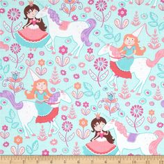 Michael Miller Unicorn Princess Seafoam from @fabricdotcom  Designed for Michael Miller, this cotton print fabric is perfect for quilting, apparel and home decor accents. Colors include shades of pink, purple, coral, and white.