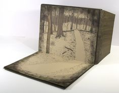 Undefined Lines by Mary Uthuppuru // unique artist book, covers unfold to create an easel so that the book sits open slightly wider than 90 degrees, each page is hand painted using watercolor and ink