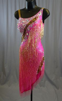 Sexy Hot Pink Gold Beads Latin Dress