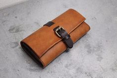 Reservation sale! W Fastener Long Wallet Camel | Purse | Lazy fellow | Handmade mail order · sale Creema