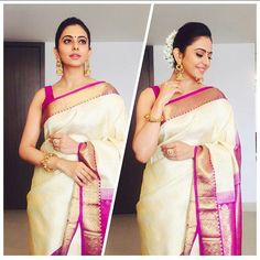 """""""Actress Rakul Preet Singh in a Traditional saree by #RSbrothers for an event today @BOLLYWOODSTYLEFILE  . . Outfit  ~ #RSbrothers Jewellery  ~…"""""""