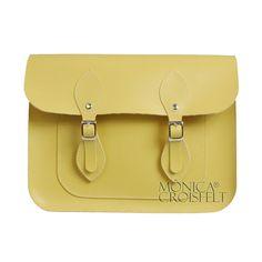 Bolsa Croisfelt Satchel Feminina Carteiro, Amarelo Candy Pastel Color 11'' Retro Vintage Design Estilo #itbag #fashion #moda #romantica