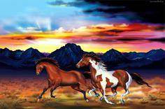 Konie, Góry, Kolory Nieba