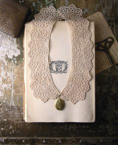 lace collar locket necklace INGRID by whiteowl on Etsy, $34.00