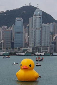 Rubber Duck  Hong Kong 2013  14 x 15 x 16,5 meters  Inflatable, pontoon and generator    The Rubber Duck knows no frontiers, it doesn't discriminate people and doesn't have a political connotation. The friendly, floating Rubber Duck has healing properties: it can relieve mondial tensions as well as define them. The rubber duck is soft, friendly and suitable for all ages!