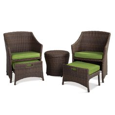 Relax with the Belvedere 5-Piece Chat Set from Threshold. This set includes 2 patio chairs, 2 ottomans and an accent table. Steel skeletons make this furniture sturdy, while synthetic wicker creates a firm but comfortable seat. The patio chairs have sleek minimalist lines and integrated pullout ottomans. With their space-saving design, the ottomans become part of the chairs when not in use. The side table also has a removable lid, offering storage space. With a bevy of cushion colors to…