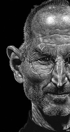 """Steve Jobs"" - Ricardo Martinez, scratchboard {male head apple man face portrait #loveart}"