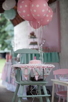 High Chair for first birthday party...Theme Shabby Chic