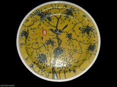 decorative yellow asian style floral printed plate