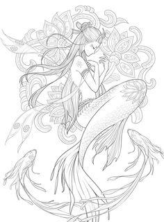 color Mermaid Drawings, Mermaid Tattoos, Mermaid Art, Octopus Mermaid, Graffiti Art, Graffiti Painting, Line Drawing, Drawing Sketches, Art Drawings