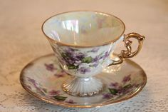 Vintage February Violet Tea Cup & Saucer - Irridescent and Gilded- Amazing Shine