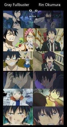Gray Fullbuster and Rin Okumura both are so alike <<< OMG (O_O)