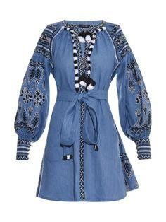 84ab97a3d Ukrainian boho dress vyshyvanka bohemian style with ukrainian embroidery  blue denim Embroidered dresses Ukraine fashion clothing vishivanka