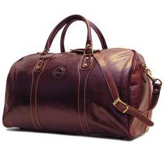 Amazon.com | Cenzo Duffle Vecchio Brown Italian Leather Weekender Travel Bag | Travel Duffels