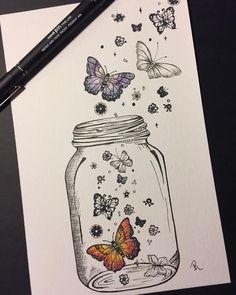 Butterflies in a jar doodle drawings, easy drawings, doodle art, tattoo drawings, Cool Art Drawings, Pencil Art Drawings, Art Drawings Sketches, Easy Drawings, Art Sketches, Drawing Art, Doodle Drawings, Tattoo Drawings, Cute Drawings Tumblr