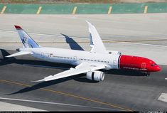 Norwegian Boeing Dreamliner exits the runway after arrival. Boeing Aircraft, Passenger Aircraft, Norwegian Airlines, Hi Fly, Boeing 787 9 Dreamliner, Commercial Aircraft, Civil Aviation, Aircraft Pictures, Air Travel