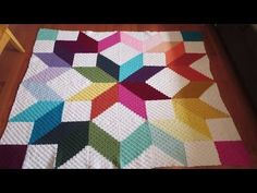 How to Crochet a Multi Color Granny Square Star Afghan - YouTube