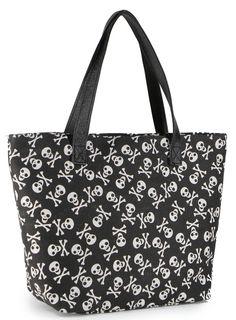skull with cross bones printed tote bag