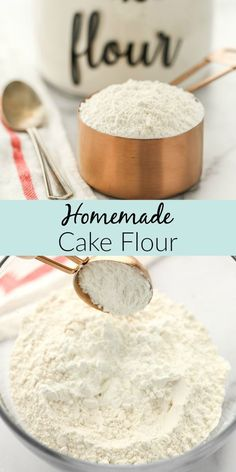 Learn how to make your own cake flour with just two simple ingredients. You probably already have these ingredients in your kitchen. This easy substitute from Live Well Bake Often is perfect for cakes, cupcakes, and so much more! Come learn about cake flour and how easy it is to make. Baking Basics, Baking Tips, Baking Recipes, Easy Recipes, Dessert Recipes, Baking Secrets, Baking Hacks, Flour Recipes, Homemade Cake Flour Recipe
