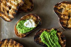 Grilled Bread with Thyme Pesto and Preserved Lemon Cream recipe on Food52