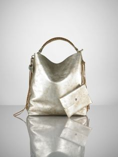 Leather Laced Large Hobo. Silver. $1995