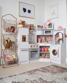 30 Cool Kids Playroom Design Ideas With Genius Storage To Try Asap Playroom Paint, Playroom Design, Kids Play Kitchen, Play Kitchens, Wooden Play Kitchen, Real Kitchen, Toddler Playroom, Playroom Organization, Playroom Ideas
