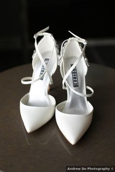 Wedding shoes ideas - close shoe, elegant, modern, glam, white, winter {Andrew Do Photography}