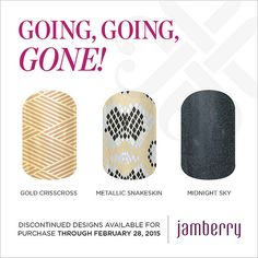 """Discontinued wraps available for purchase through February 28, 2015!! """"Gold Crisscross"""" """"Metallic Snakeskin"""" & """"Midnight Sky"""""""