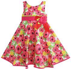 Red apple pattern girls dress