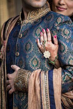 Regal looking blue and gold sherwani for the indian groom Indian Wedding Couple, Wedding Couple Poses, Desi Wedding, Indian Bridal, Wedding Couples, Indian Weddings, Indian Wedding Suits For Men, Wedding Groom, Punjabi Wedding