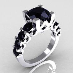 Modern Vintage 10K White Gold 20 Carat Black Diamond by artmasters, $929.00