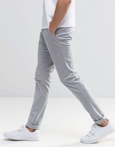New Look Skinny Fit Chinos In Gray