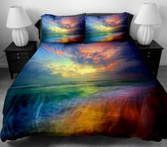Luxury Bedding The Gift Ideas for women Set 2 Sides Printing The Red Light On Space Bed Sheets With 2 Throw Pillow Covers