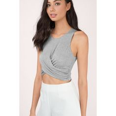 Tobi Toni Jersey Wrap Crop Top ($36) ❤ liked on Polyvore featuring tops, heather grey, wrap style top, wrap crop top, cut-out crop tops, wrap tops and cropped tops
